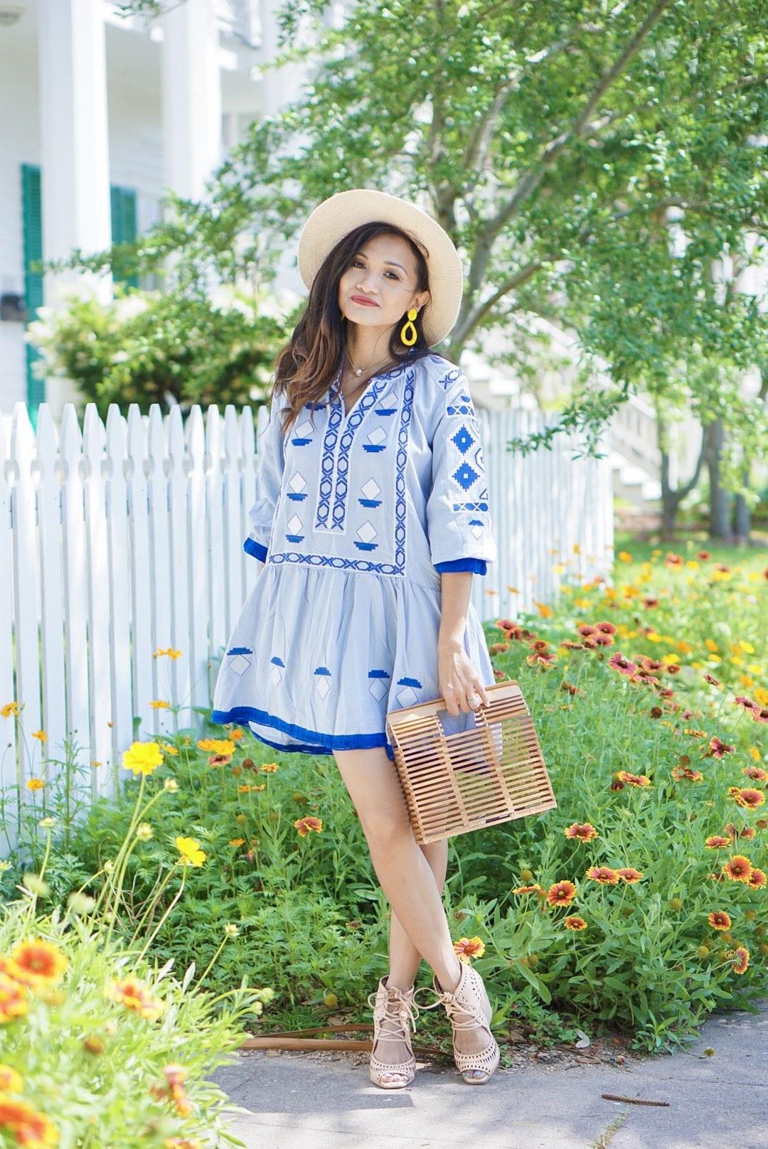 #springstyle #springfashion #summerdress #summerfashion, chicwish, Jeffrey Cambell Rodillo wedges, embroidered dress, bamboo bag, #ltkunder50, #liketoknow.it, blogging tips, rewardstyle, blue dress, beach dress