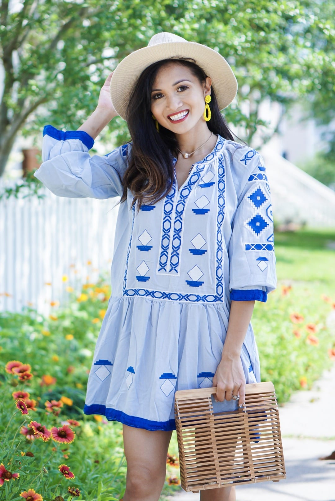 #springstyle #springfashion #summerdress #summerfashion, chicwish, Jeffrey Cambell Rodillo wedges, embroidered dress, bamboo bag, #ltkunder50, #liketoknow.it, blogging tips, rewardstyle, blue dress, beach dress, Lisa Lerch