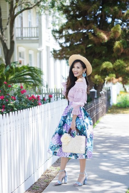 hydrangea skirt, floral skirt, Sunday best, #summerstyle, #sundaybrunchoutfit, #kendrascott, off the shoulder, #mothersday, Mother's Day outfit, straw bag, embroidered block heels, Mother's Day