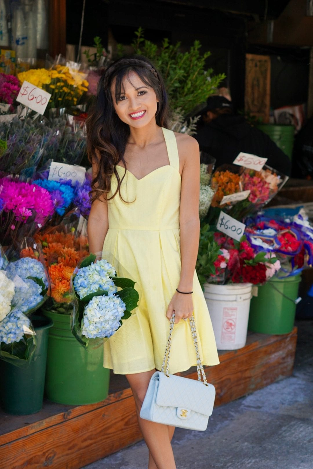 yellow dress, yellow seersucker dress, seersucker dress, Chanel bag, flower shop, NYC, NYC flower shop