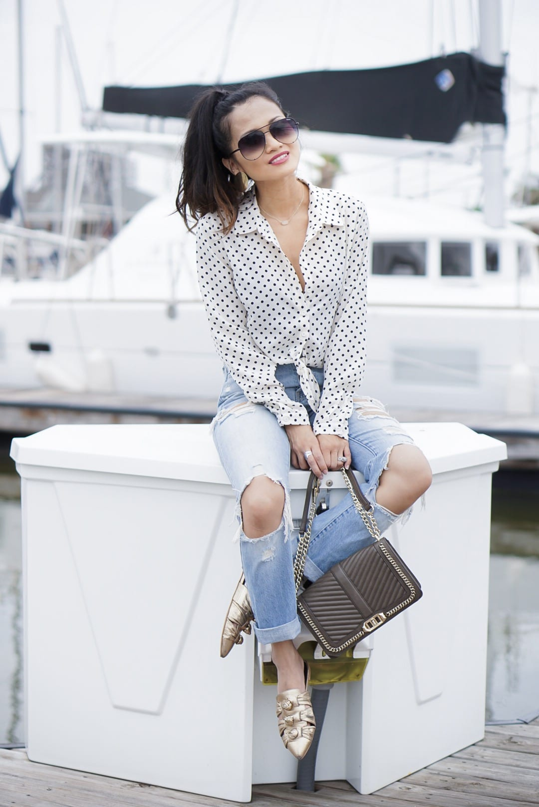 coping tips, dealing with a tragedy, dealing with grief, mom guilt, #polkadot #summerstyle, quay sunglasses, #momstyle, Rebecca Minkoff shoes, gold mules, Rebecca Minkoff love crossbody, quay sunglasses, ripped ankle jeans, mom jeans, high waisted jeans
