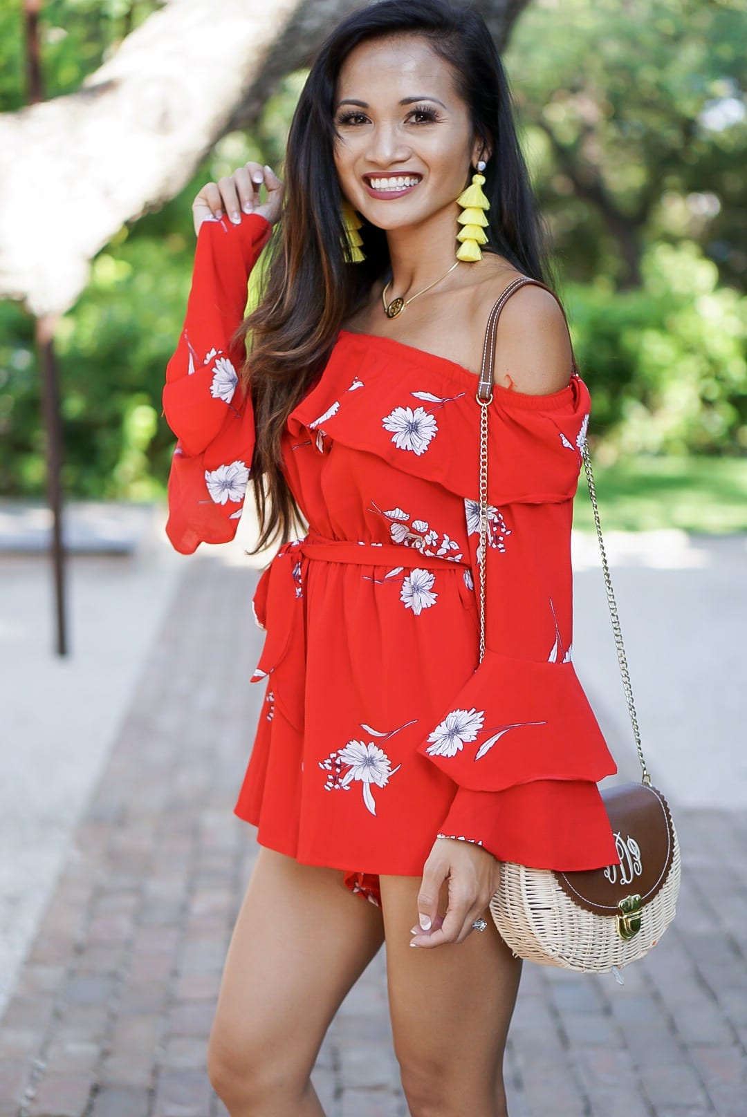 red romper, red floral romper, #summerstyle, #summeroutfit, #chicwish, #romper, off the shoulder, networking, tips on networking, liketoknow.it, yellow tassel earrings, lace up sandals