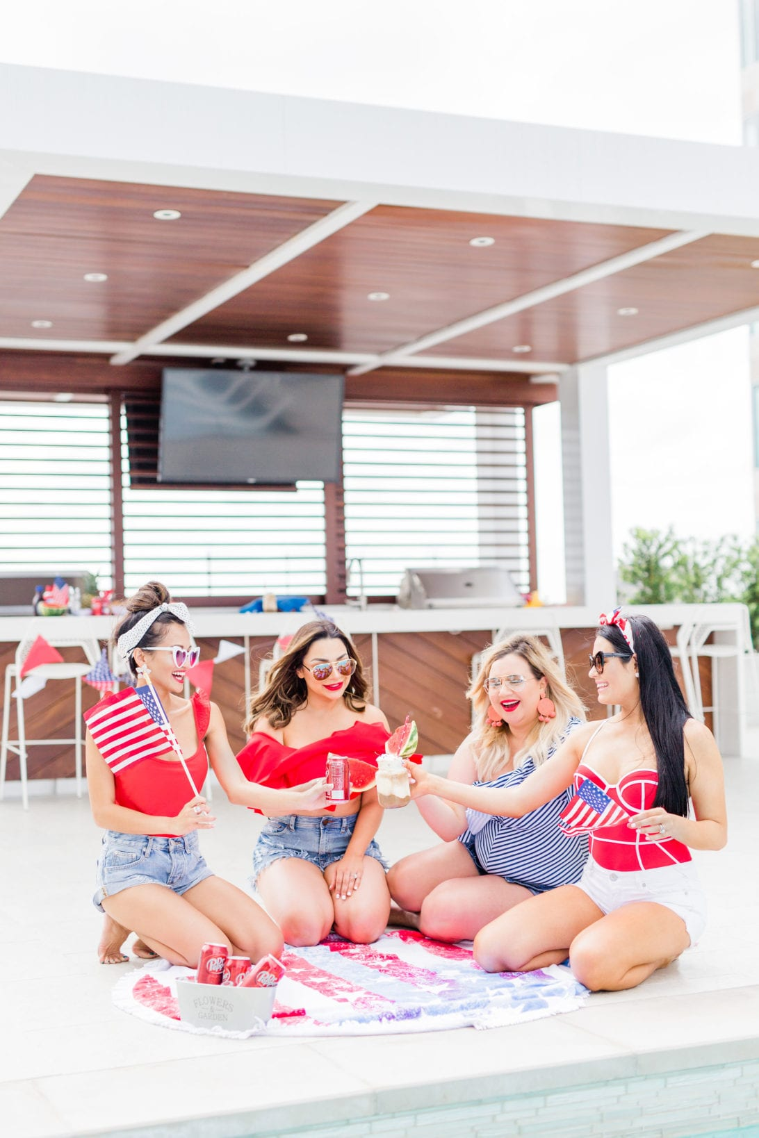 #PickYourPepper, #Walmart #ad, 4th of July, Memorial Day, Pool Party, red, white and blue party, summer party, dr. pepper, red swimsuit, heart shaped sunglasses, pool party, watermelon, DIY 4th of July decoration, Dr. Pepper Float, float bar, float station, Dr. Pepper ice-cream