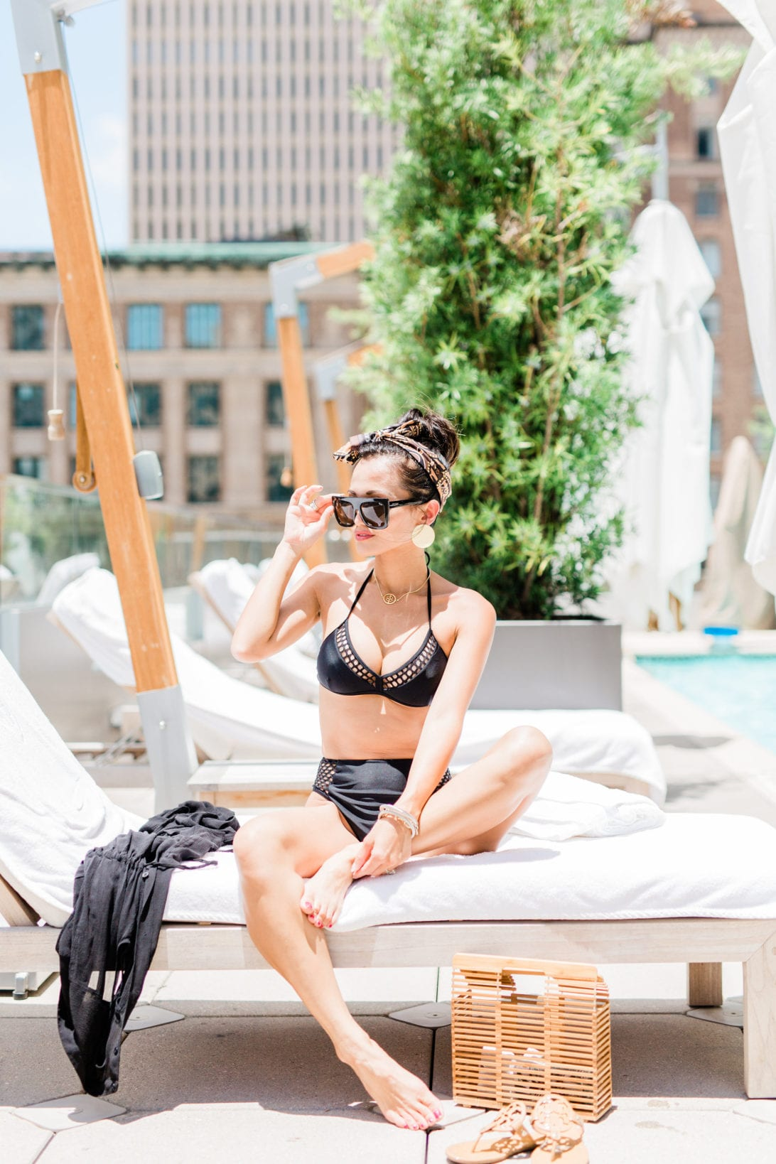 #dawnpdarnell, #summerfashion, #swimwear, #summerstyle, highwaistej bikini, black bikini, swim cover up, swimwear under $50, affordable swimwear, quay sunglass, bamboo bag, Louis Vuitton Word Tour Bandeau, LV bandeau, Tory Burch Miller sandals