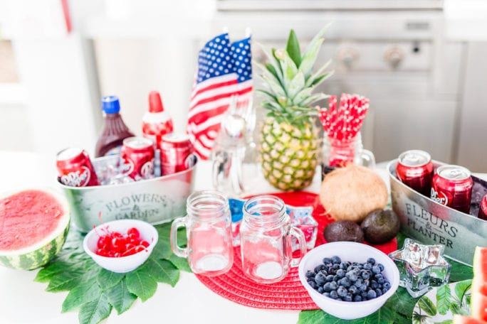 This year I wanted to share an easy and fun DIY Dr. Pepper Float station for your next 4th of July party. It will sure be a hit with your guest! Nothing says summer like Dr. Pepper float, and if you are in Texas where it is hot as hades, then this makes the perfect party drink to keep you cool and refreshed. Check out how you can recreate this 4th of July inspired Dr. Pepper Float station below!