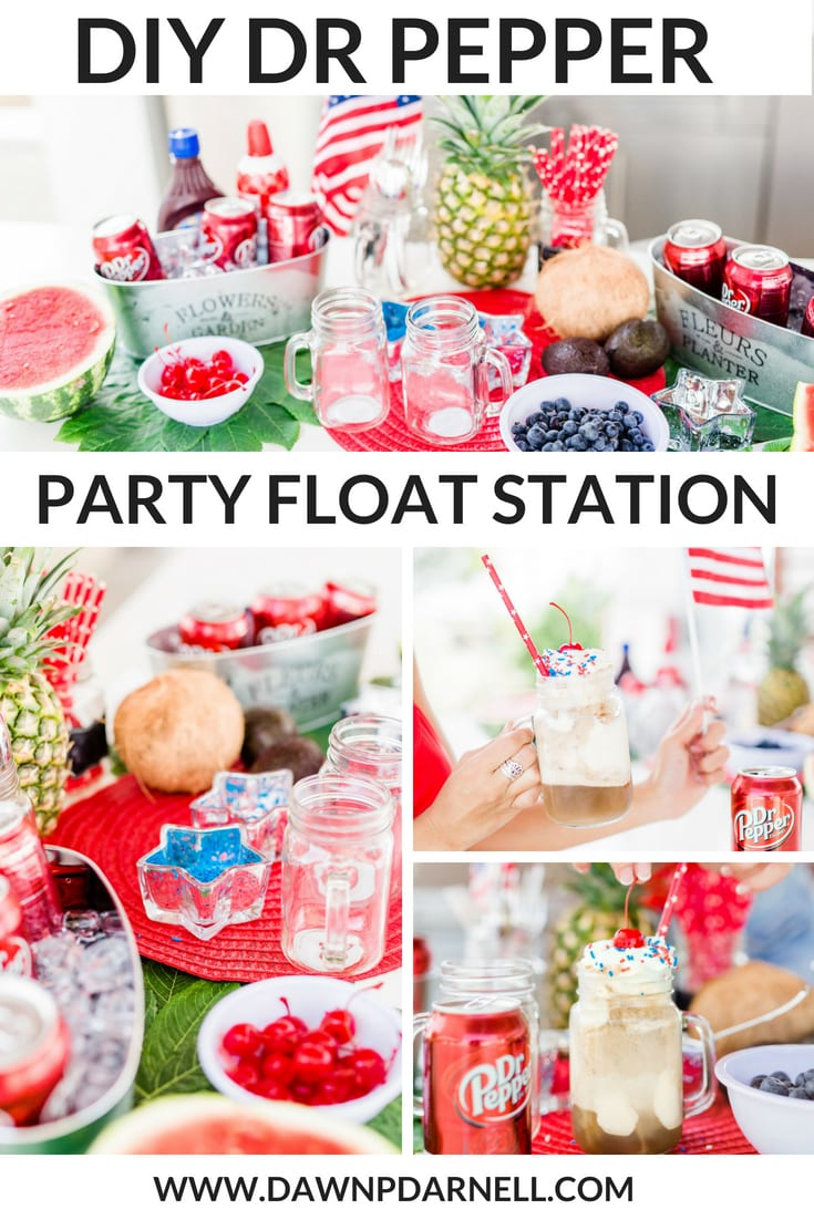 #PickYourPepper, #Walmart, #ad, 4th of July, Walmart, Memorial Day, Pool Party, red, white and blue party, summer party, dr. pepper, red swimsuit, heart shaped sunglasses, pool party, watermelon, DIY 4th of July decoration, Dr. Pepper Float, float bar, float station, Dr. Pepper ice-cream