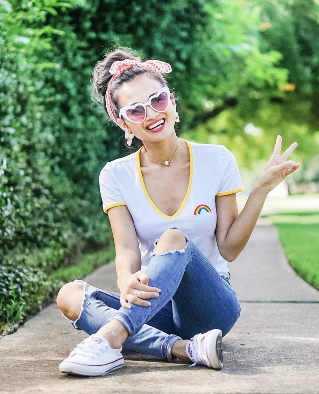 heart shaped sunglasses, rainbow shirt, #pride #happypride, converse, freepeople jeans, #freepeople, bandana, summer style, summer outfit, flower earrings, #dawnpdarnell