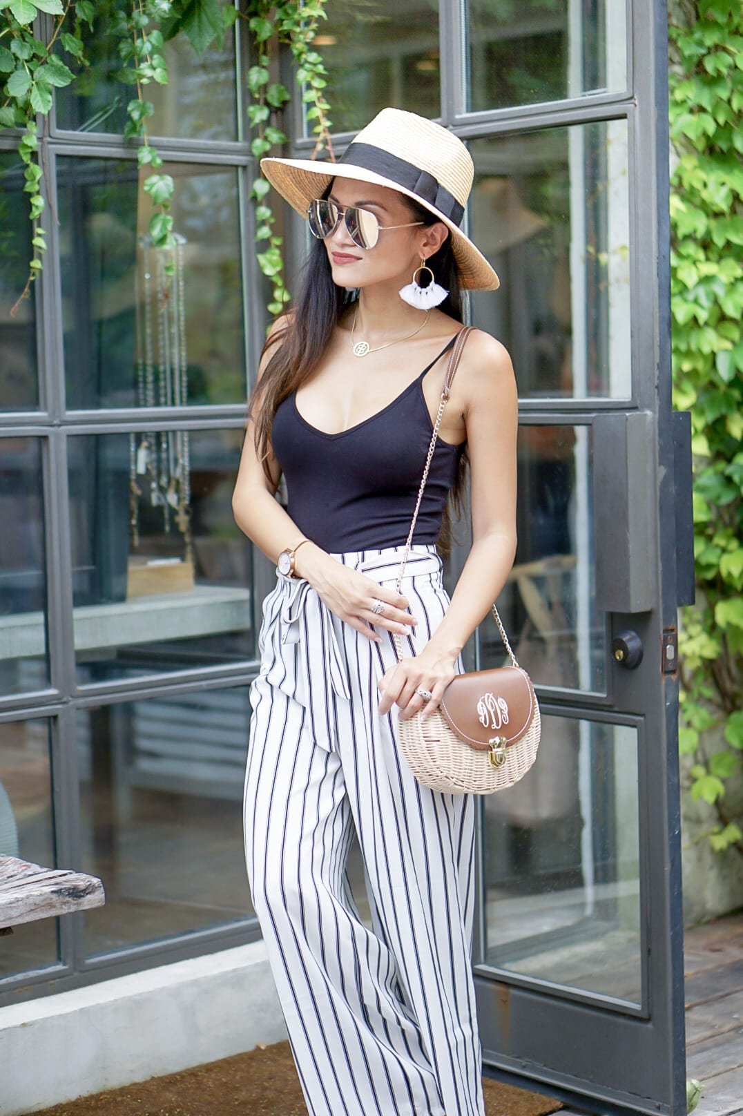 $10 bodysuit, bodysuit, black body suit, #affordablefashion, striped pants, striped culottes, quay sunglasses, tassel earrings, Lisi Lerch, monogrammed straw bag