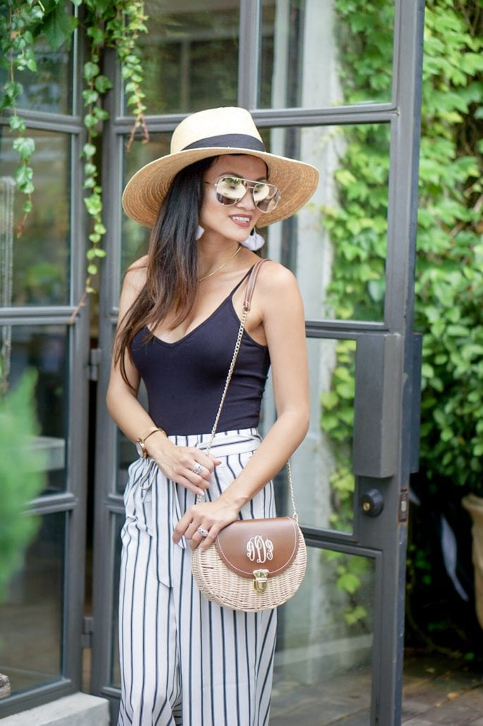 black body suit, #affordablefashion, striped pants, striped culottes, quay sunglasses, tassel earrings, Lisi Lerch, monogrammed straw bag