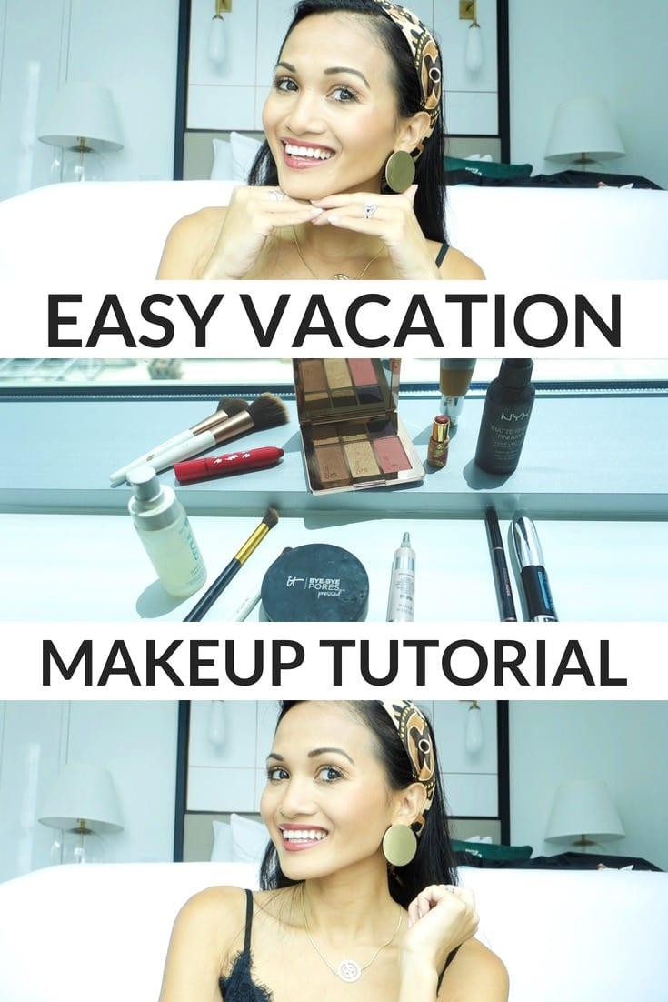 easy vacation makeup tutorial, Ever Skincare, Coola Primer, NYX setting spray, It Cosmetics illuminating under eye cream, Loreal Volume Superstar mascara, Anastasia Beverly Hills brow definer, Tarte cosmetics lip balm, It cosmetic cc cream, beauty video, makeup tutorial, sweat proof makeup, waterproof makeup