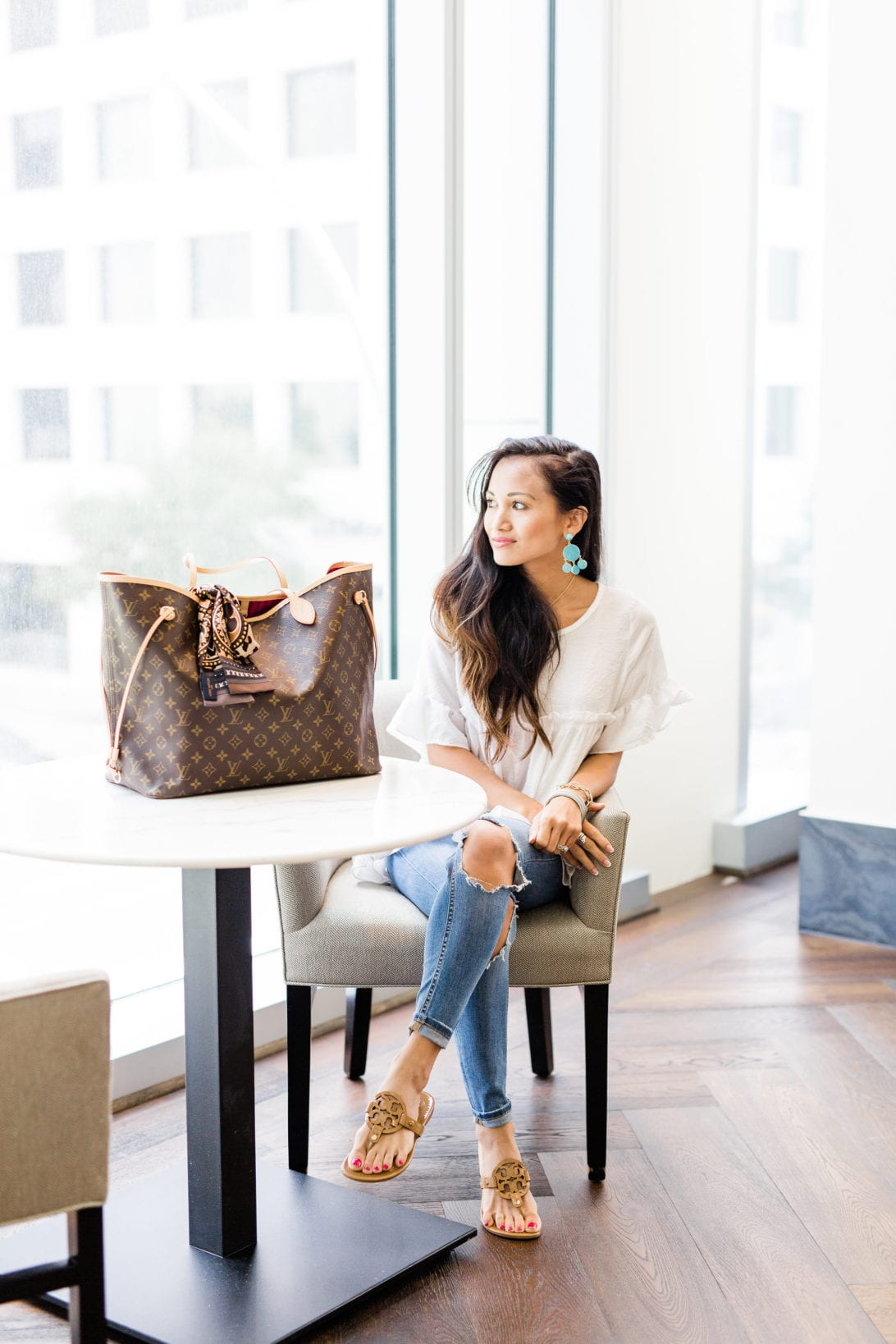 Louis Vuitton Monogrammed bag, Neverfull Gm, World Tour, #LVWORLD, #LOUISVUITTON, Louis Vuitton World Tour Bandeau, Bandeau, #summerstyle, #summerfashion, black bikini, date night look, Tory Burch Miller Sandals
