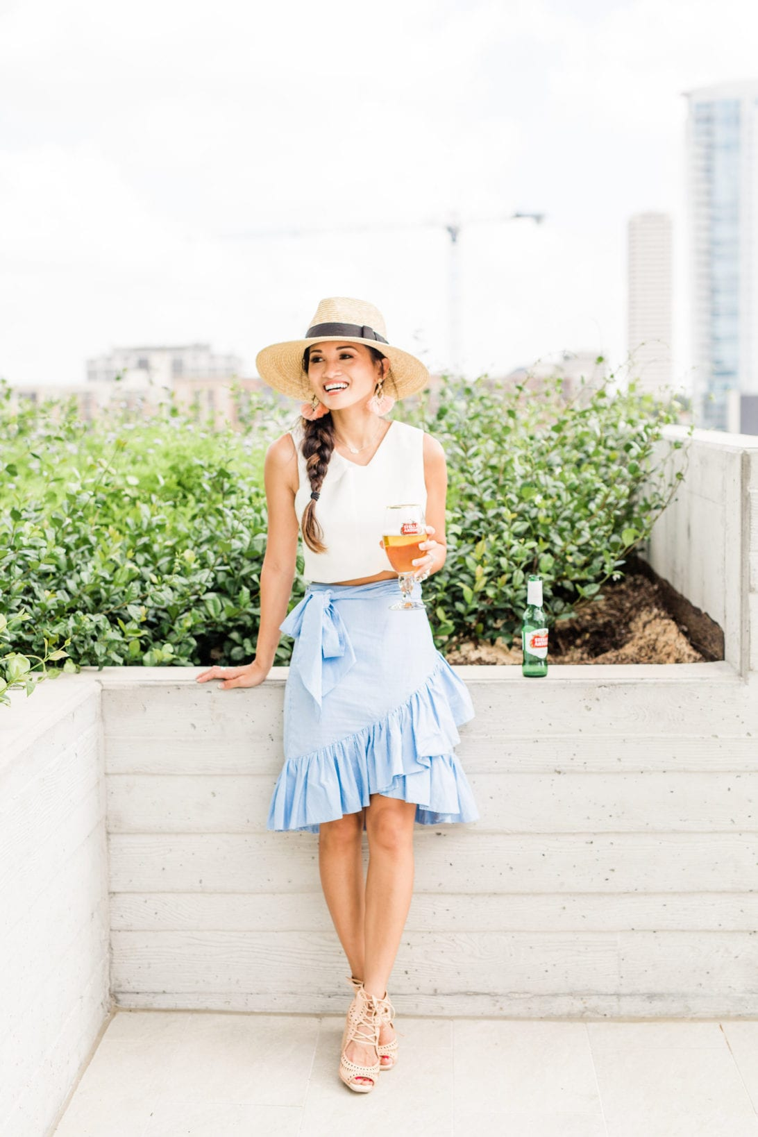 blue ruffle skirt, chic wish, straw hat, Jeffrey Campbell wedges, #dawnpdarnell, #summerstyle #houstonblogger, summer entertaining, summer party, soiree, how to throw a summer soiree, tips to throwing a summer soiree, outdoor entertaining,