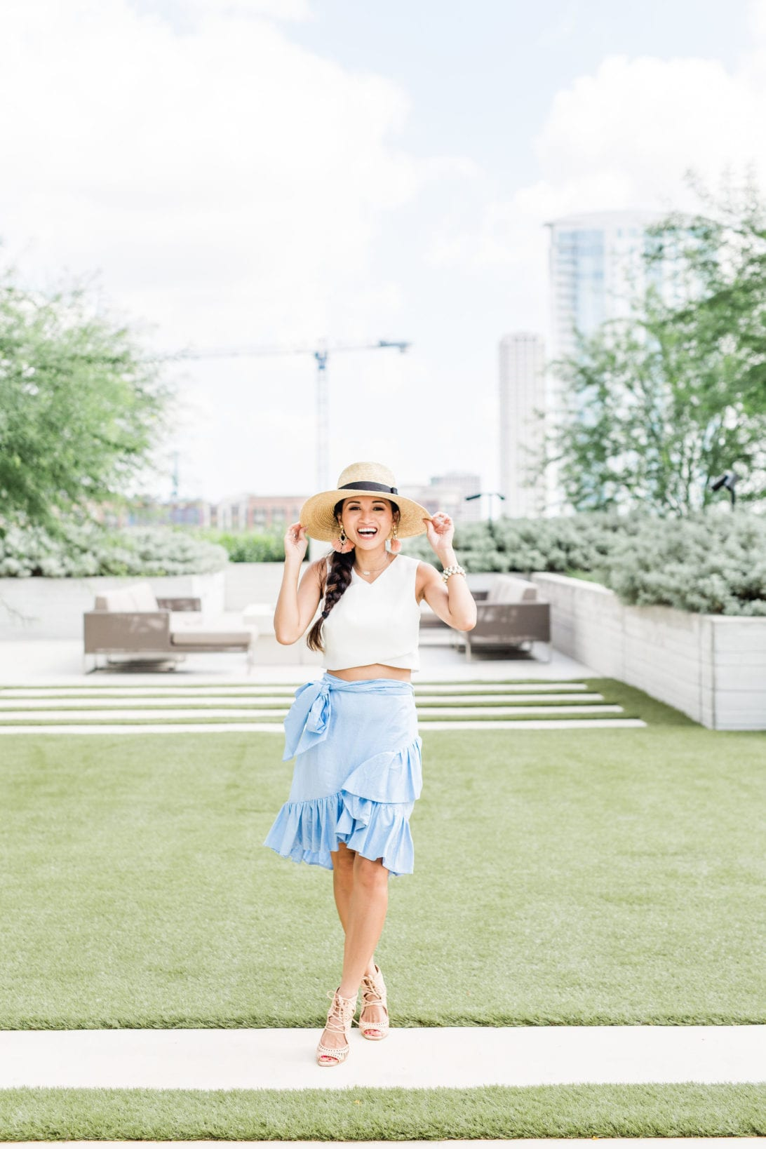 blue ruffle skirt, chic wish, straw hat, Jeffrey Campbell wedges, #dawnpdarnell, #summerstyle #houstonblogger, summer entertaining, summer party, soiree, how to throw a summer soiree, tips to throwing a summer soiree, outdoor entertaining, home and gardens, garden party, summer tablescape