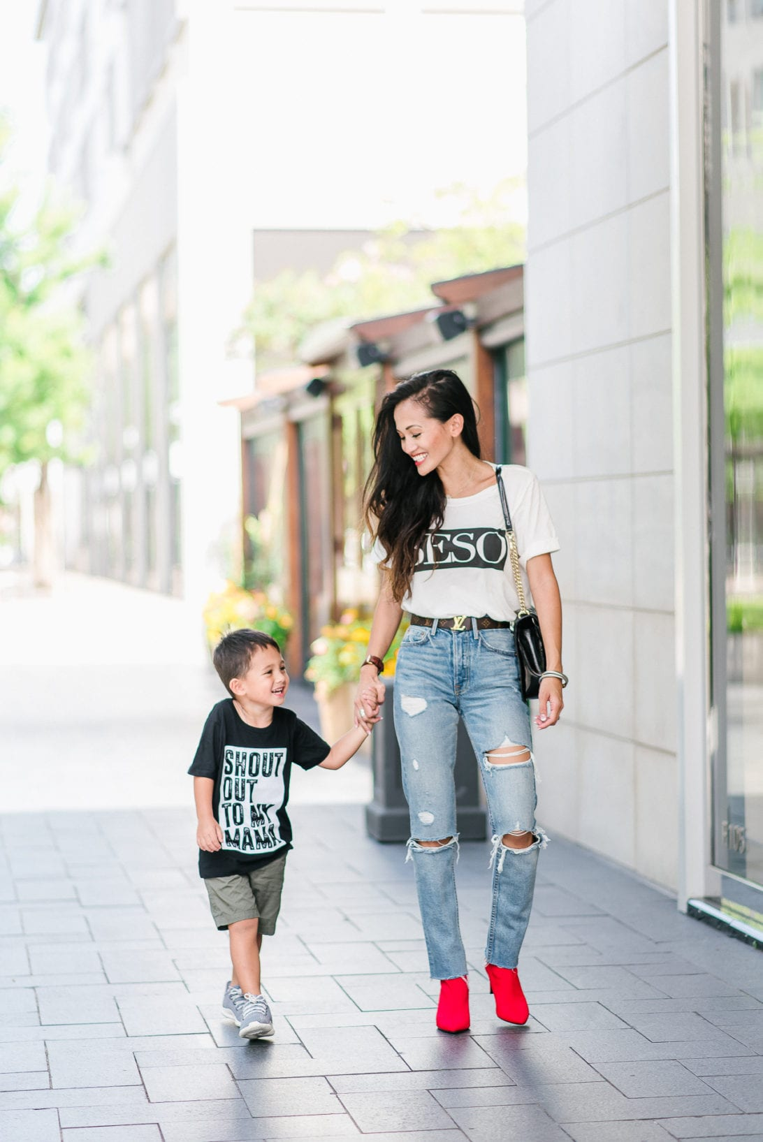 mom style, toddler boy style, boy fashion, toddler fashion, beso shirt, red booties, GRLFRND denim, Louis Vuitton belt, quay sunglasses, Blank NYC jacket, moto suede jacket , mommy and me, toddler boy style, mommy and me fashion, boy mom