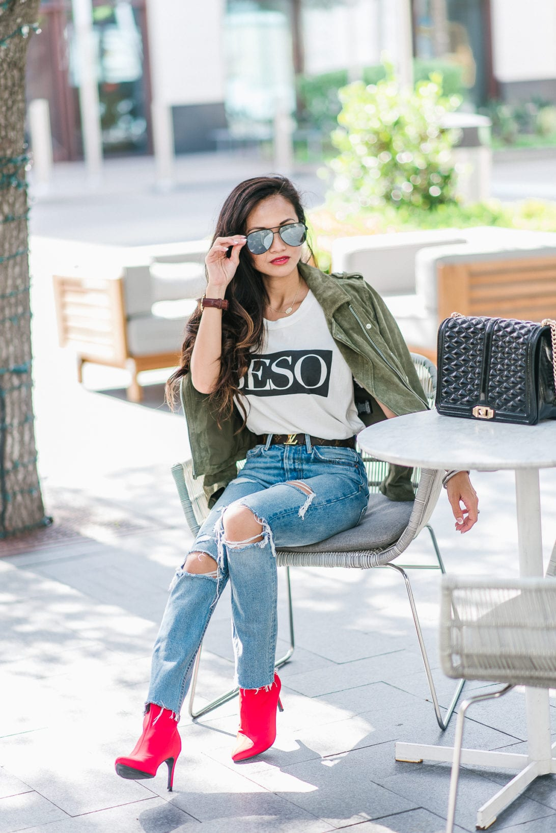 beso shirt, red booties, GRLFRND denim, Louis Vuitton belt, quay sunglasses, Blank NYC jacket, moto suede jacket