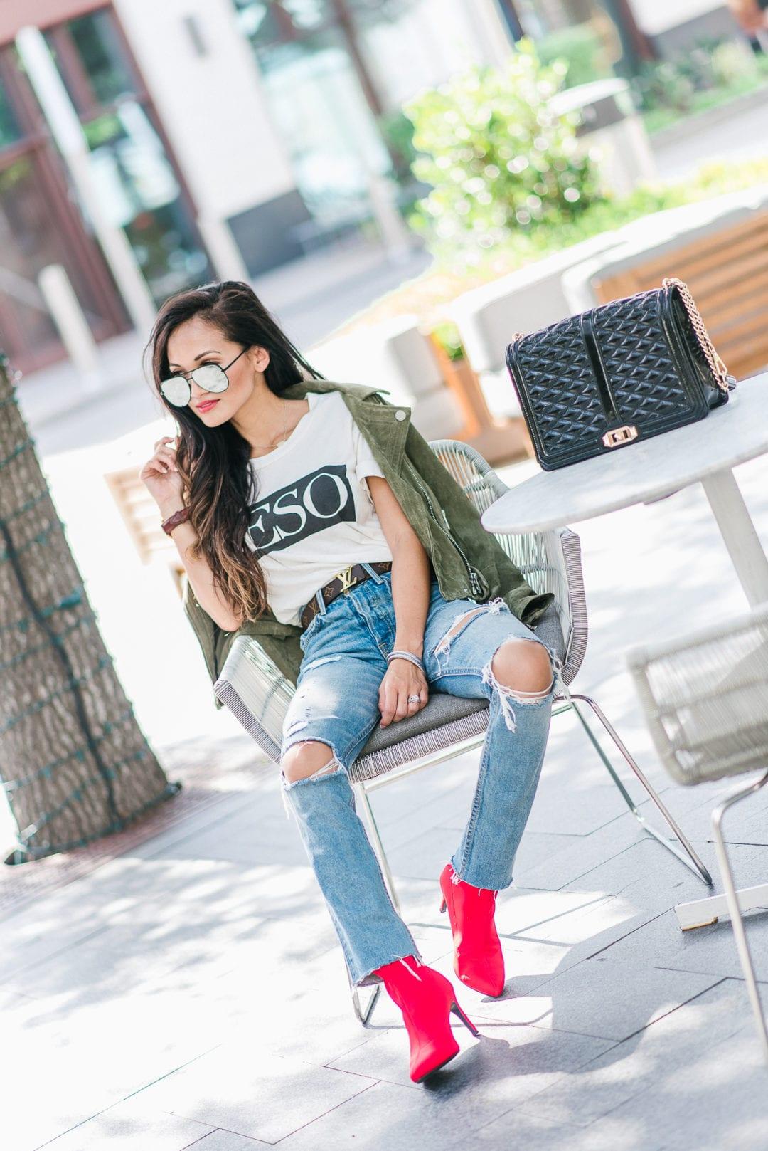 beso shirt, red booties, GRLFRND denim, Louis Vuitton belt, quay sunglasses, Blank NYC jacket, moto suede jacket