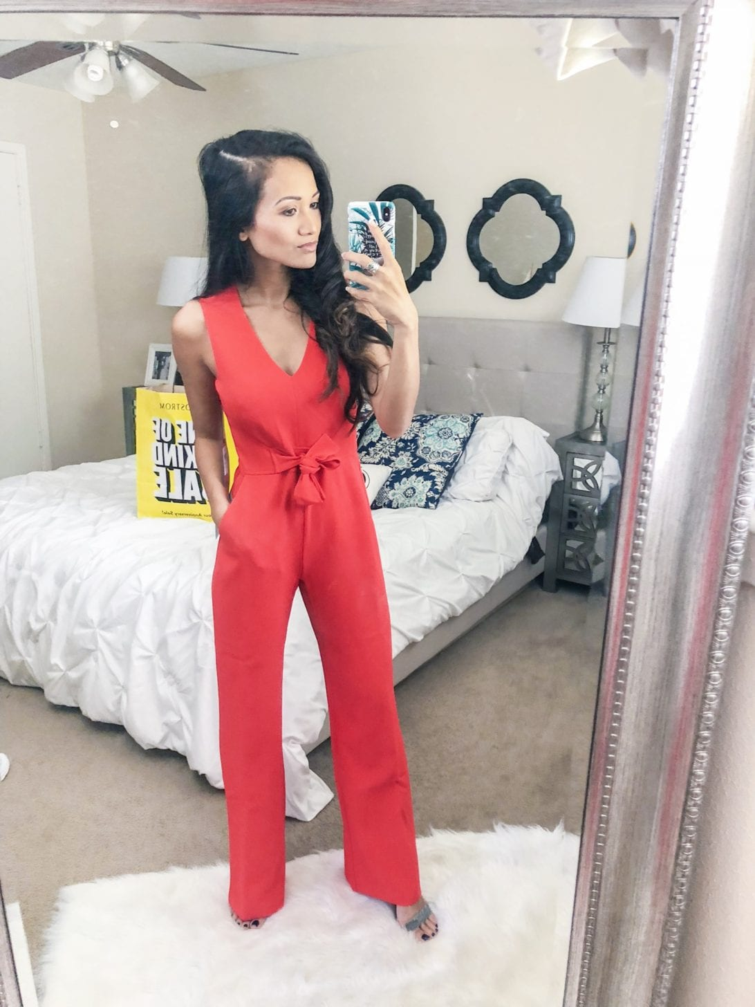 nordstrom anniversary sale, try-on session, love it or leave it, petite style, petite fashion, red jumpsuit