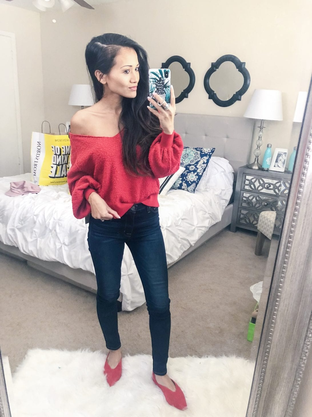 freepeople sweater, red sweater, fall fashion, nordstrom anniversary sale, try-on session, love it or leave it, petite style, petite fashion,