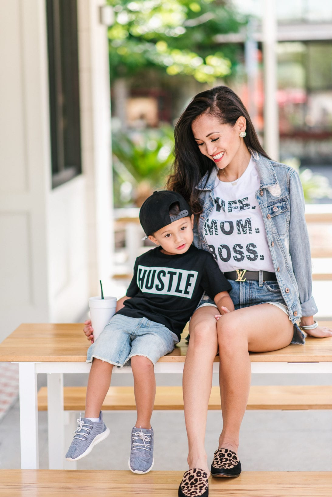 mommy and me style, mommy and me fashion, toddler boy style, Louis Vuitton belt