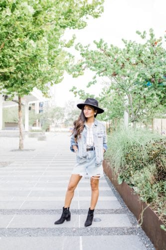 #AbercrombieDenim, #ANFPartner, Abercrombie Houston, Abercrombie style, fall fashion, fall jackets, denim jackets, romper, transitional fall outfit