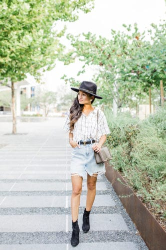 #AbercrombieDenim, #ANFPartner, Abercrombie Houston, Abercrombie style, fall fashion, fall jackets, denim skirt, Rebecca Minkoff bag