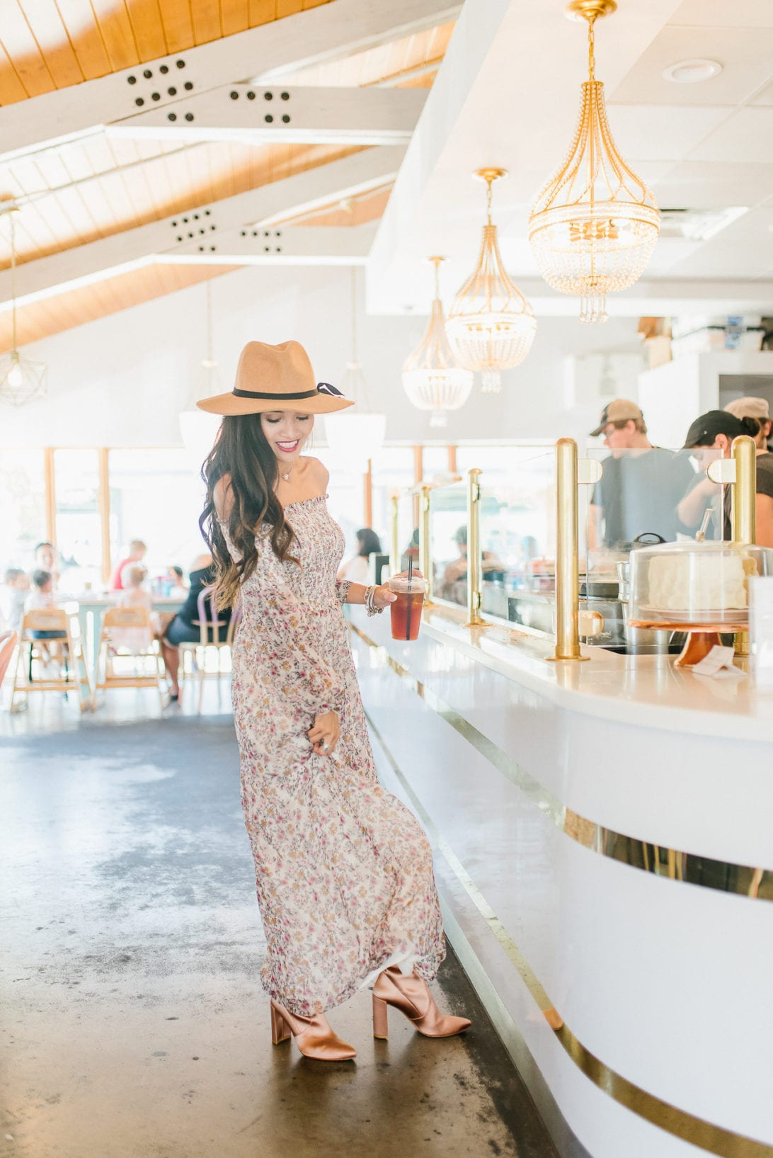 pink booties, floral maxi, felt fedora, crepes, cafe bar, fall style
