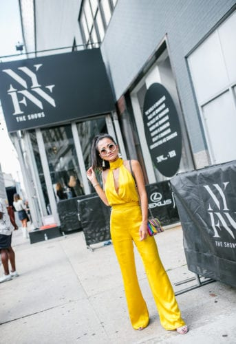 NYFW 2018, New York FASHION WEEK, STREET STYLE, LPA, YELLOW JUMPSUIT