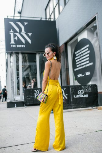 NYFW 2018, New York FASHION WEEK, STREET STYLE, LPA, YELLOW JUMPSUIT, CHANEL EARRINGS, YELLOW BLING GLASSES, NYFW