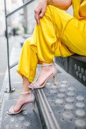 NYFW 2018, New York FASHION WEEK, STREET STYLE, LPA, YELLOW JUMPSUIT, DSW SHOES, DSW HEELS, BLING HEELS, SPARKLY HEELS