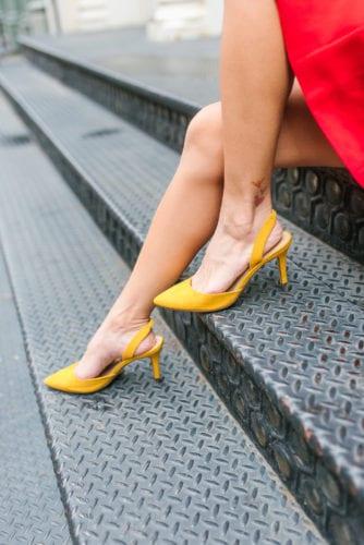 #dswstylesquad, #mydsw, yellow sling backs, yellow heels, yellow shows