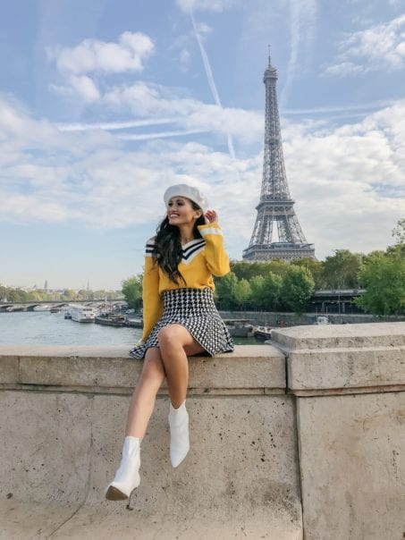 Eiffel Tower, Paris, France, yellow sweater, white boots, white beret, Fall in Paris