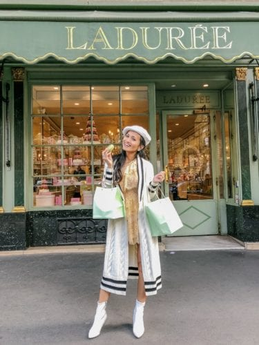 GILET LONG CHEYENNE, #revolveamabassador, Revolve, Laduree, Paris, macaroons, white boots