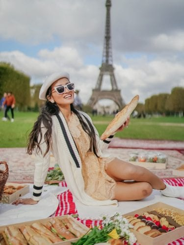 cat eye sunglasses, photos in front of the Eiffel Tower, Eiffel Tower picnic photoshoot