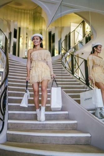 Chanel bag, Chanel store, Chanel Paris, lace dress