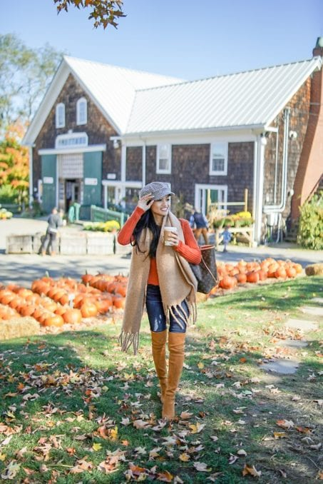 thanksgiving outfit, off the shoulder top, Stuart Weitzman boots, Russell Orchards, newsboy caps, fall foliage