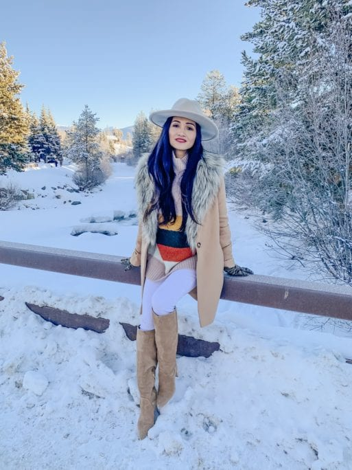 FEDORA, KNEE HIGH BOOTS, WHITE SKINNY JEANS, COLOR BLOCK SWEATER, SAM EDELMAN BOOTS, CHICWISH, FUR COLLAR JACKET, WINTER FASHION