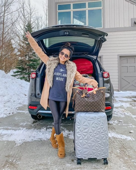 airplane mode, Louis Vuitton never full gm, pink interior, ugg boots, winter style, fur neck jacket, leather leggings, Koral leggings, DSW, #DSWSTYLESQUAD