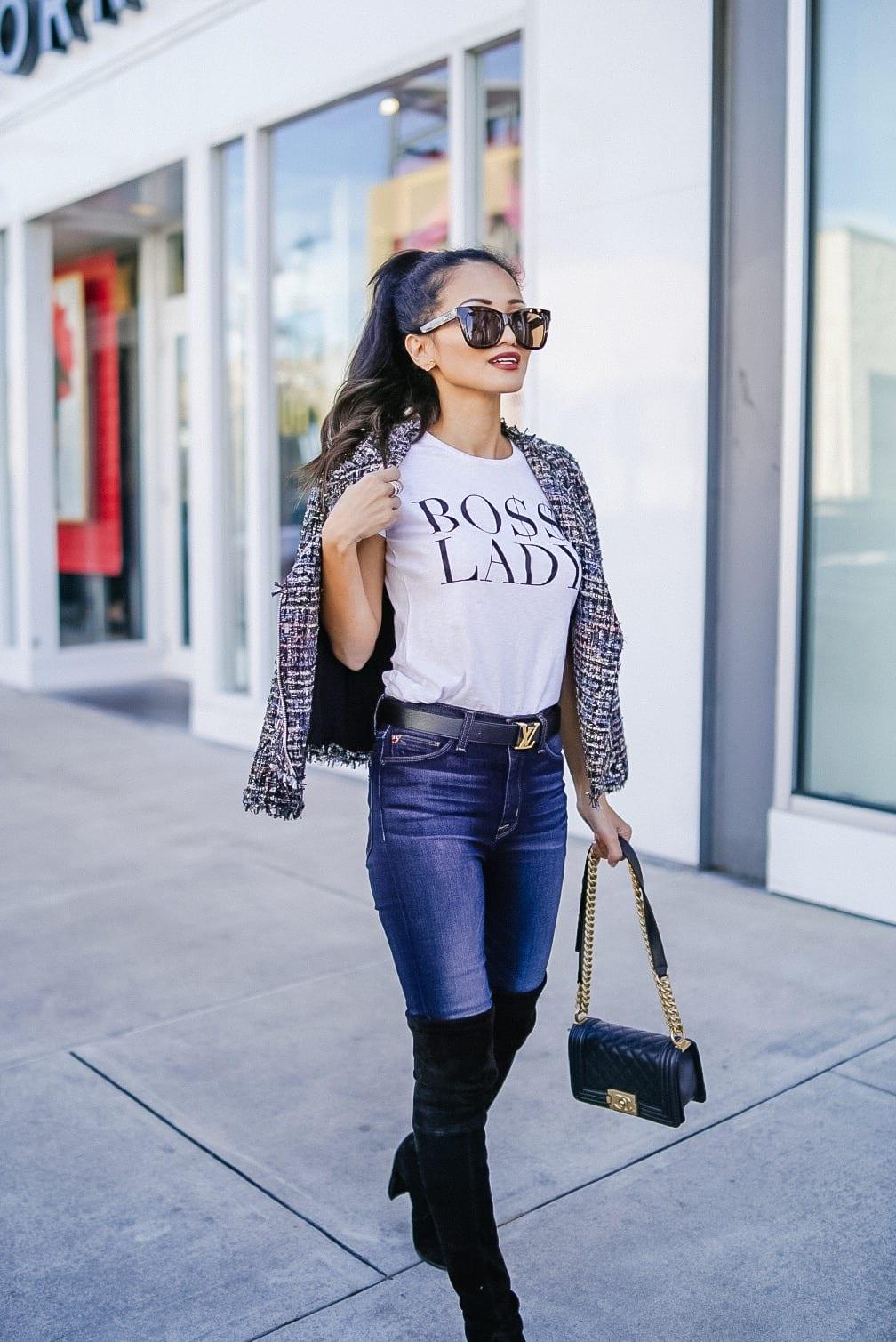 boss lady, Louis Vuitton belt, Black chanel boy bag