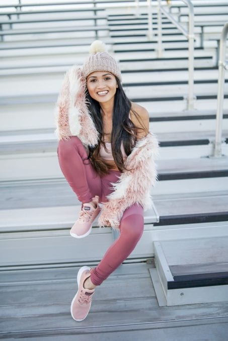 pink shaggy jacket, workout outfit