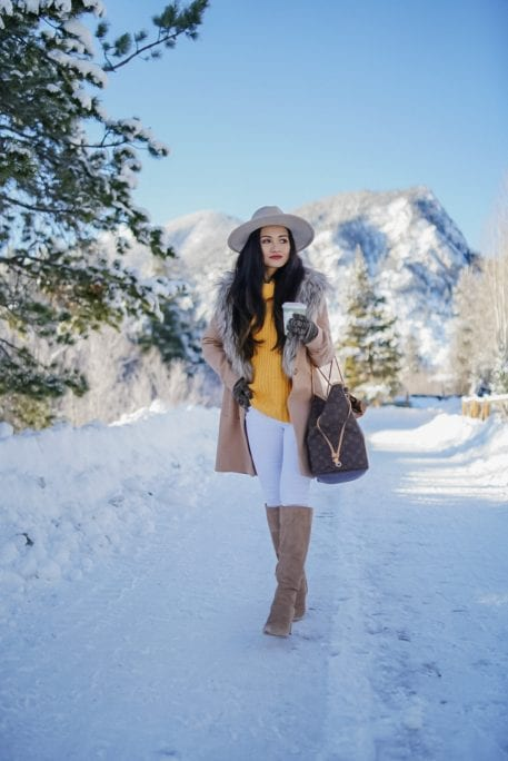 snow outfit, winter outfit, white jeans, white denim, Colorado