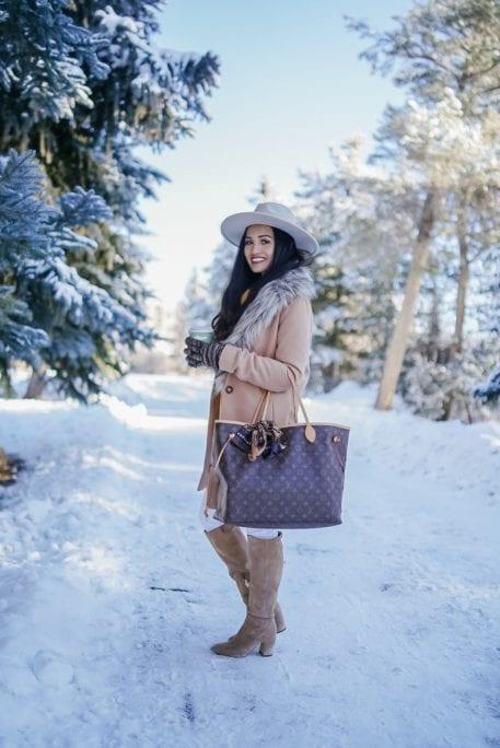Louis Vuitton bag, camel coat, Sam Edelman boots