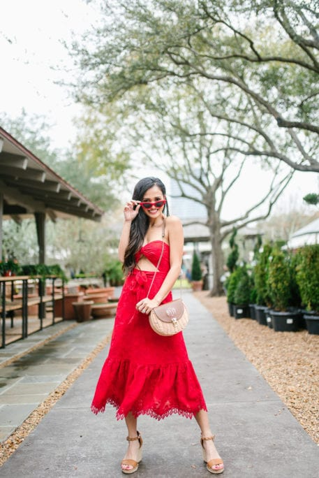 Lover and Friends, red sunglasses, monogrammed bag, red lace dress, DSW wedges