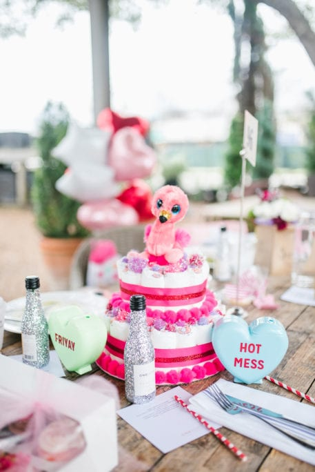 Flamingo diaper cake