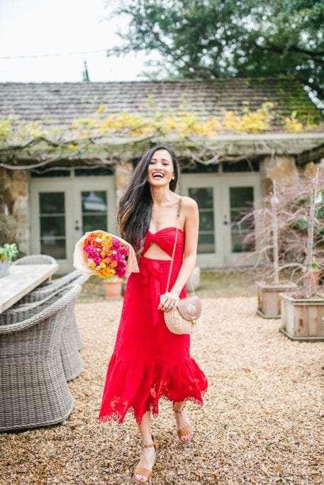 red lace dress, Valentine's dress, Revolve