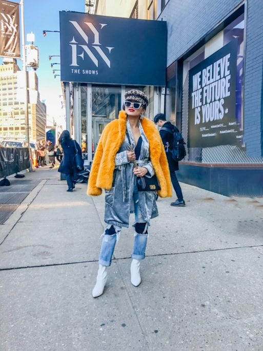 STREET STYLE, NYFW STREET STYLE, WHITE BOOTIES, YELLOW FUR JACKET, RIPPED JEANS, REVOLVE
