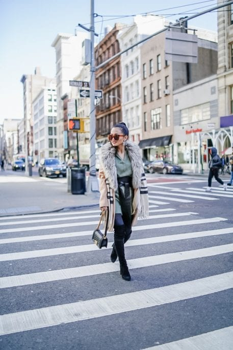 NYC STREET STYLE, GREEN TUNIC TOP, GREEN UTILITY DRESS, FUR COLLAR JACKET
