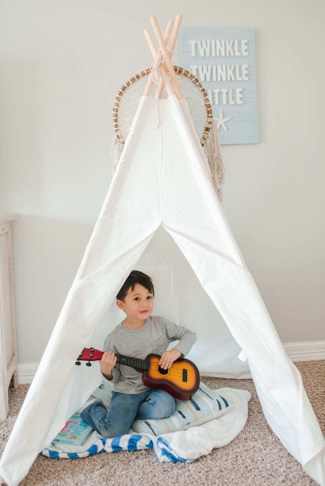children's teepee, tent, white tent, game room, Portable Kids Cotton Canvas Teepee Indina Play Tent Playhouse, Class White One Window Style