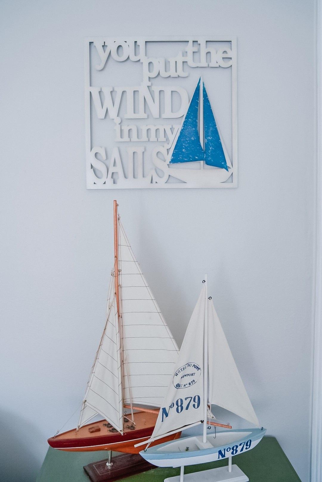 coastal decor, sailboats, summer decor