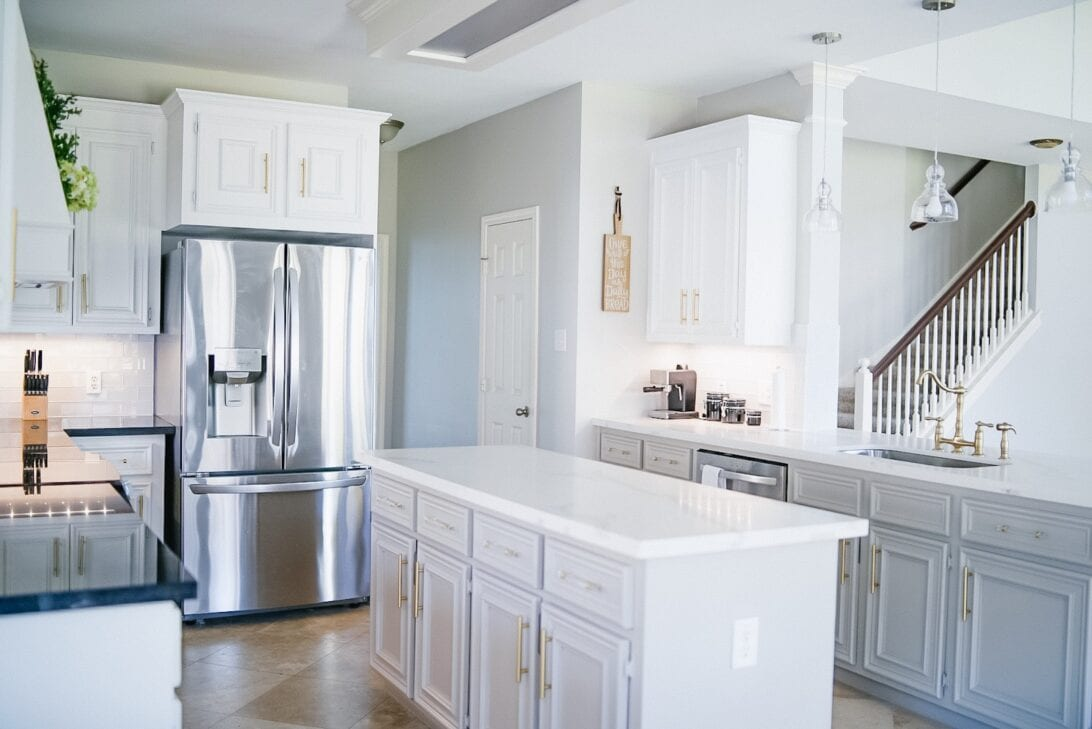 grey and white cabinets, French door refrigerator, stainless steal refrigerator