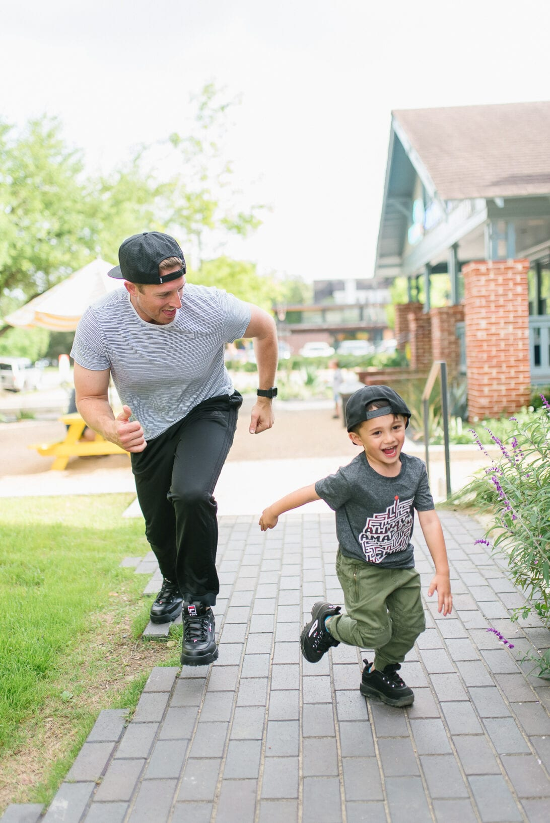#dswstylesquad, #dsw_partner, dad and son, black sneakers, black Fila